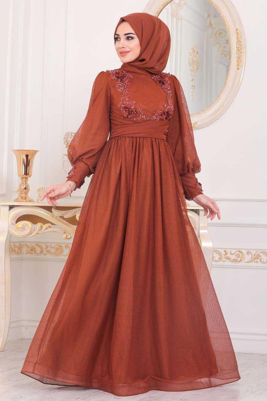 Terra Cotta Hijab Evening Dress 40302KRMT