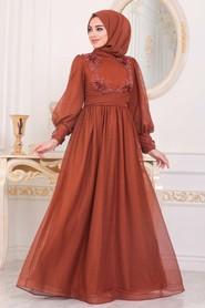 Terra Cotta Hijab Evening Dress 40302KRMT - Thumbnail