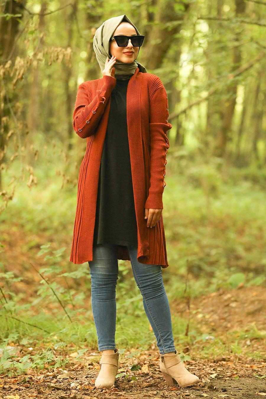 Terra Cotta Hijab Knitwear Cardigan 16114KRMT
