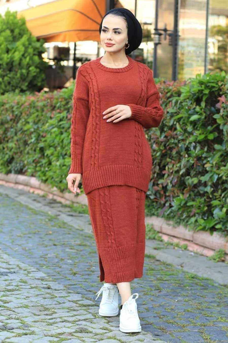 Terra Cotta Hijab Knitwear Suit 6010KRMT