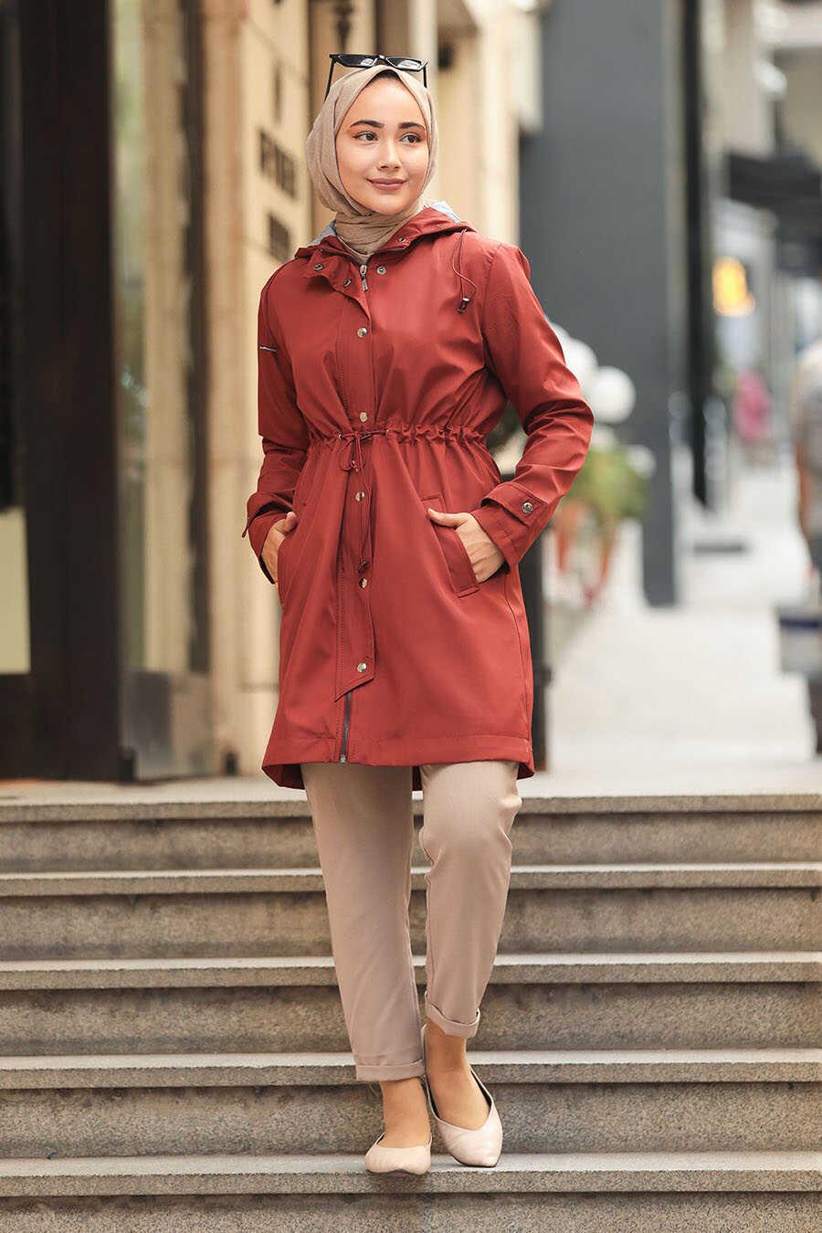Terra Cotta Hijab Trenchcoat 5082KRMT