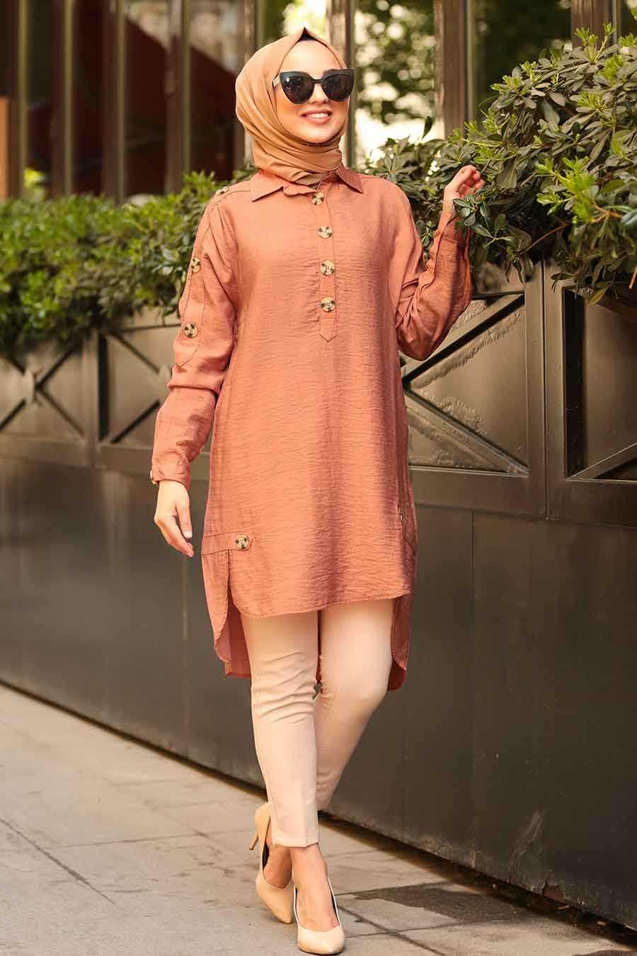Neva Style - Terra Cotta Hijab Tunic 3748KRMT