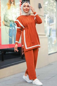 Terra Cotta Triple Suit Dress 20075KRMT - Thumbnail