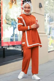 Terra Cotta Triple Suit Dress 20075KRMT - Thumbnail
