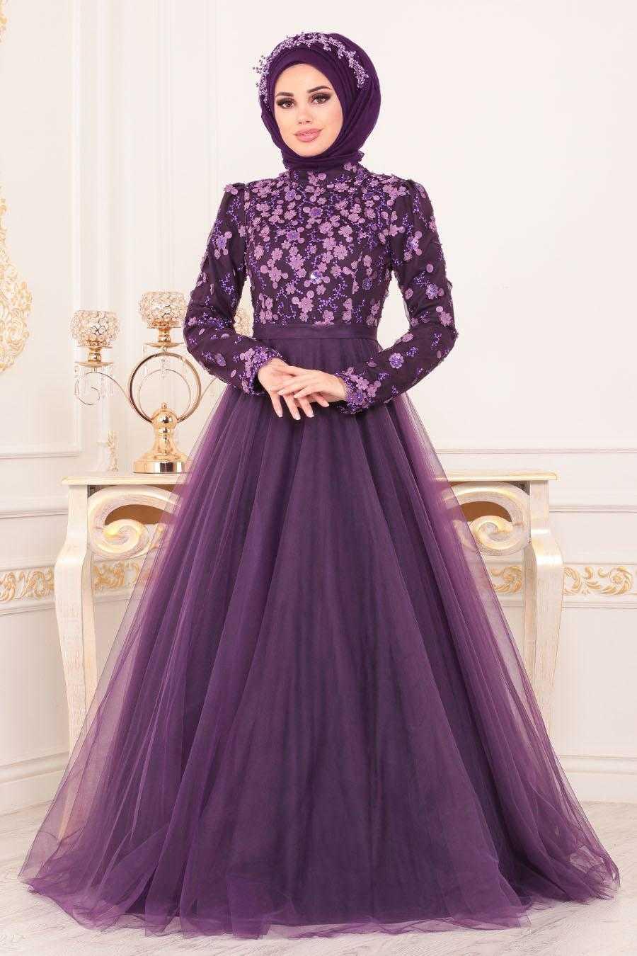 Prenses Model Mor Tesettür Abiye Elbise 184802MOR