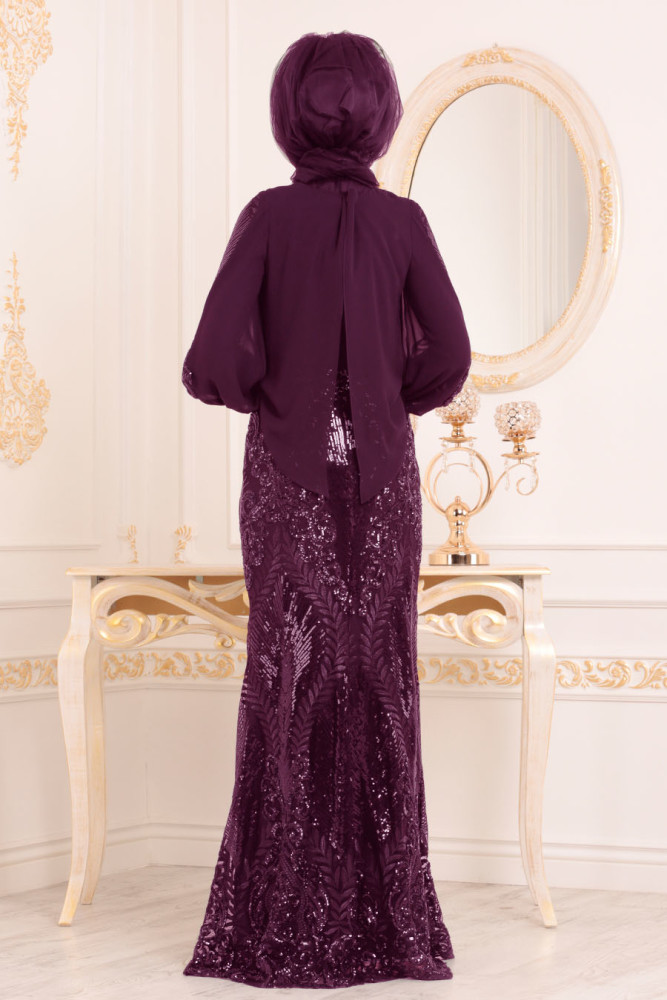 ul Detaylı Mürdüm Tesettür Abiye Elbise 45820MU - Thumbnail