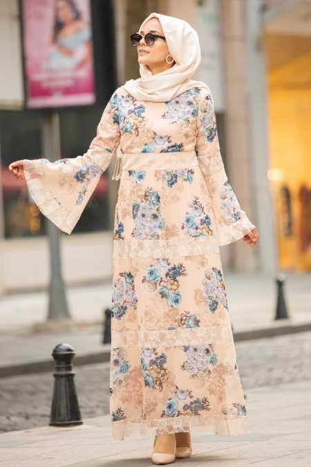 Volan Kol Çiçek Desenli Somon Tesettür Elbise 100427SMN