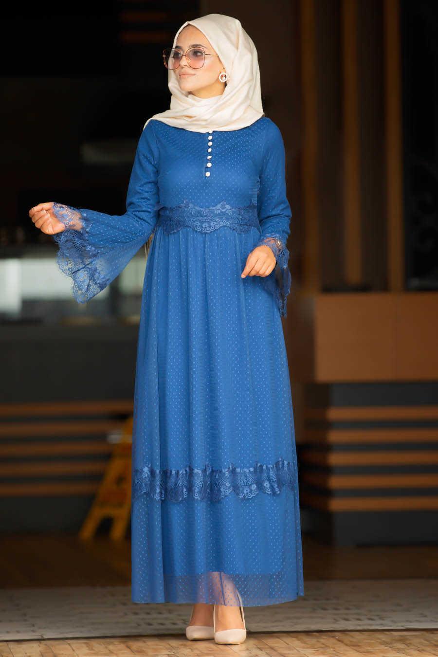 Volan Kol İndigo Mavisi Tesettür Elbise 100421IM