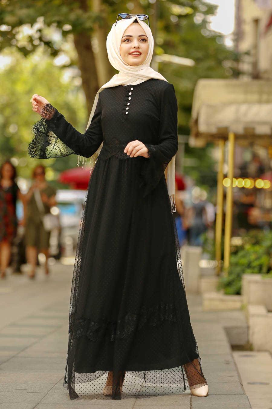 Volan Kol Siyah Tesettür Elbise 100421S