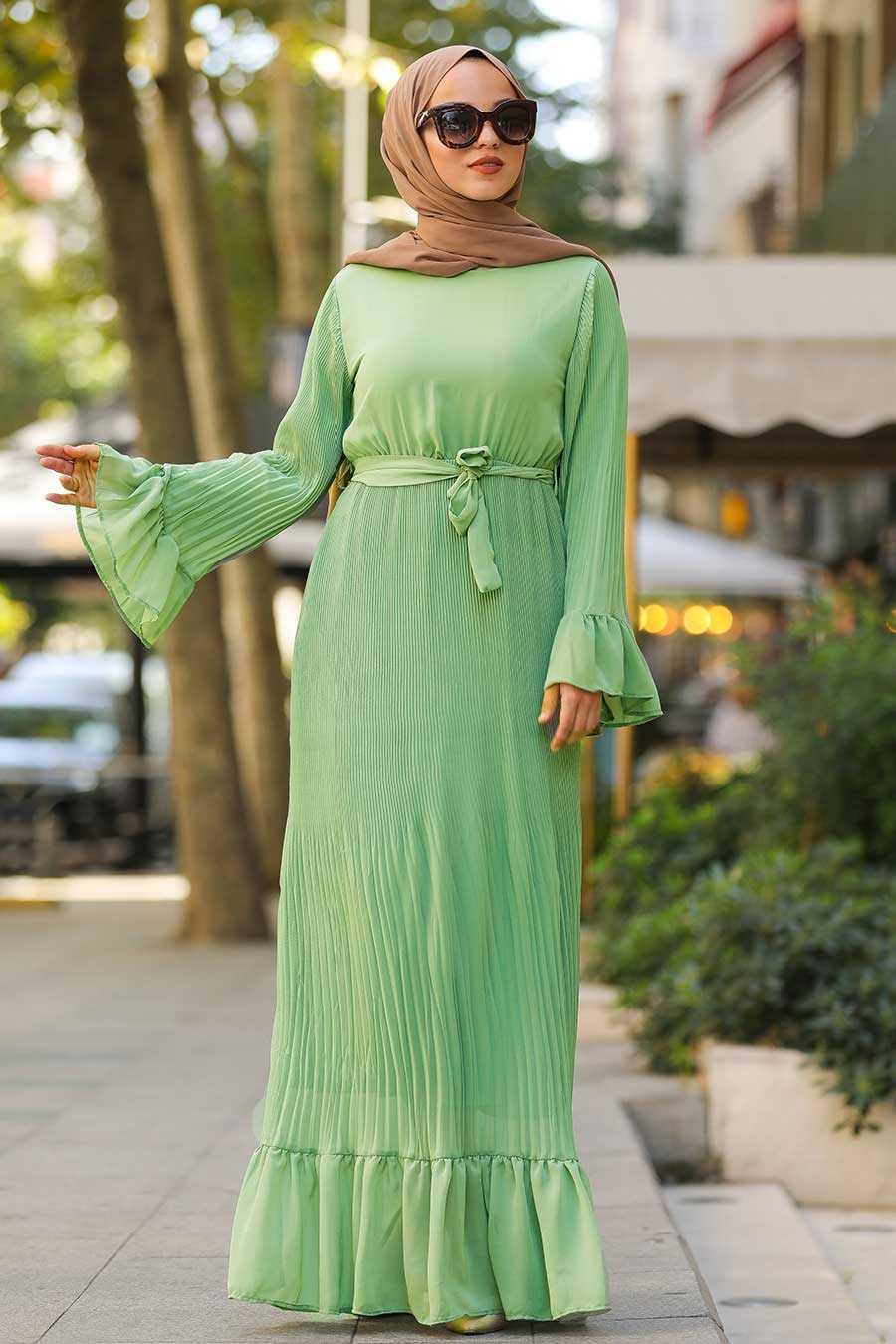 Volan Kollu Fıstık Yeşili Tesettür Elbise 35750FY
