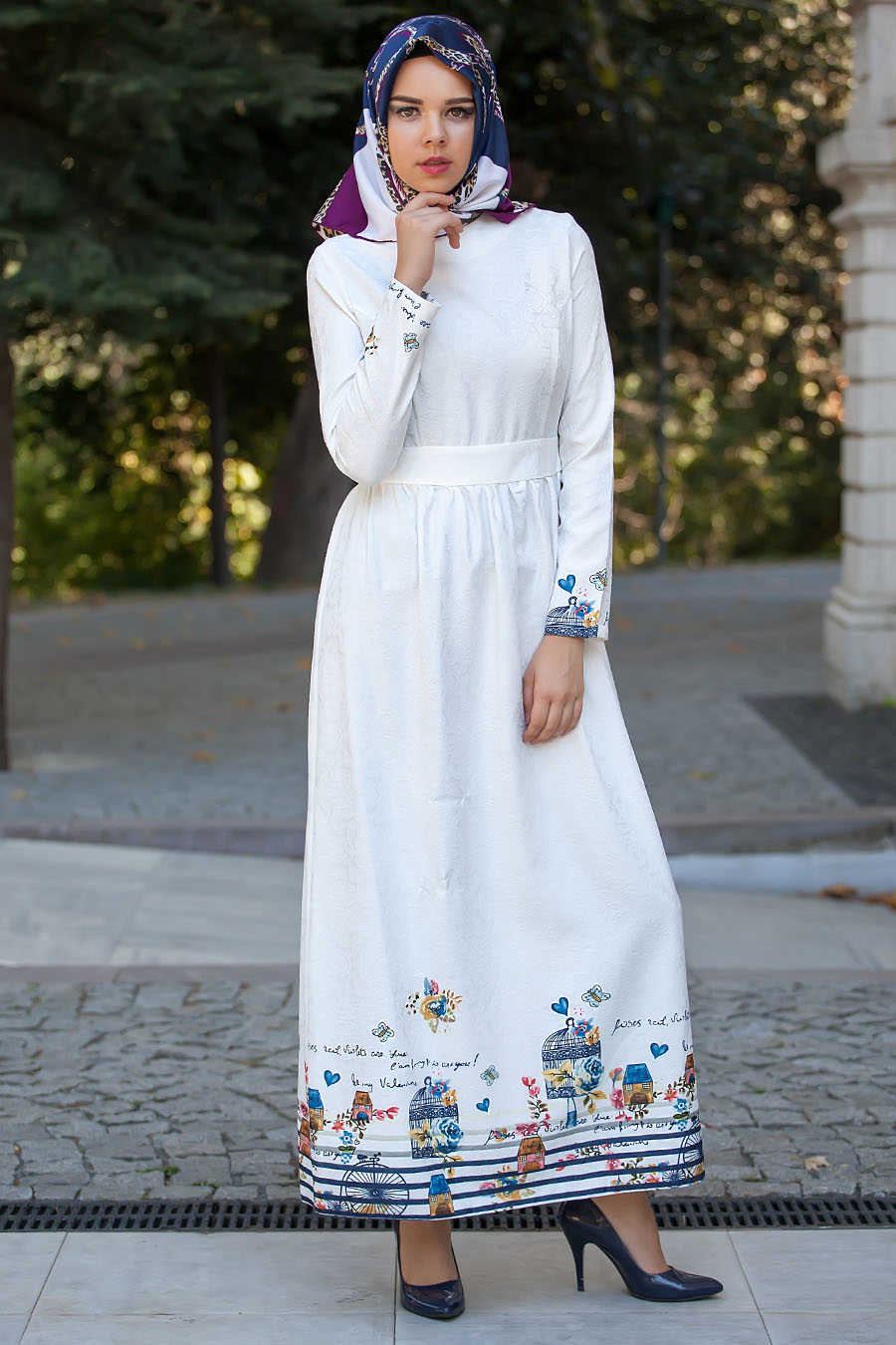 Daily Dress - Patterned White Dress - 511-01B
