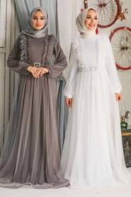 White Hijab Evening Dress 34801B - Thumbnail