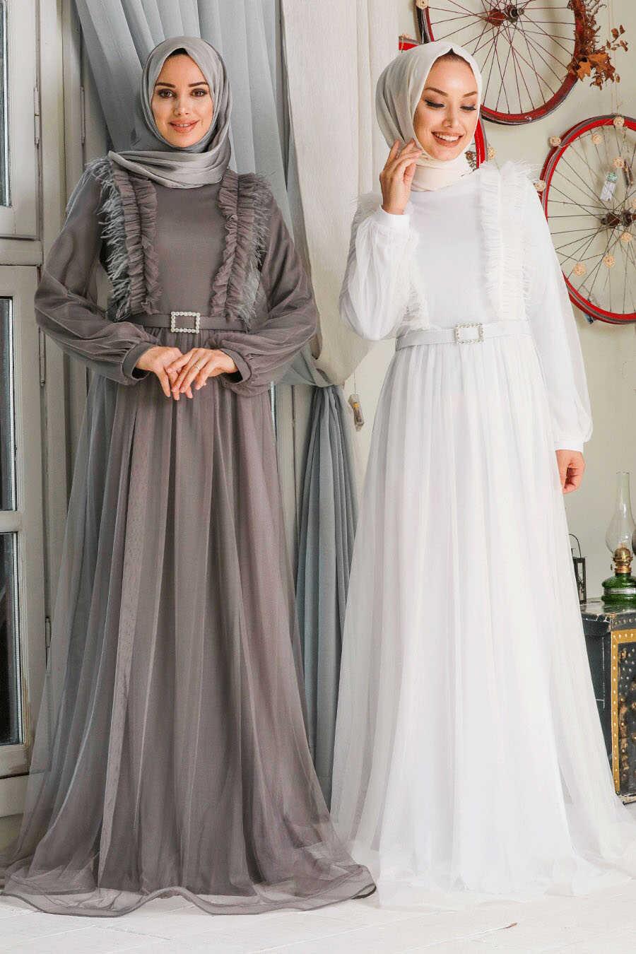White Hijab Evening Dress 34801B