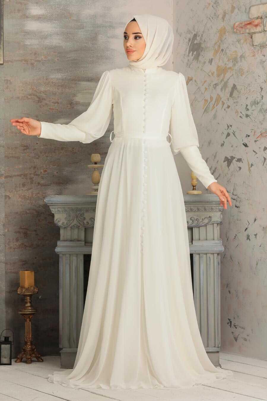 White Hijab Evening Dress 54551B