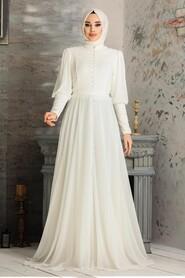 White Hijab Evening Dress 54551B - Thumbnail