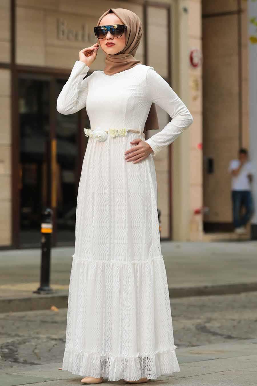 White Hijab Dress 1390B