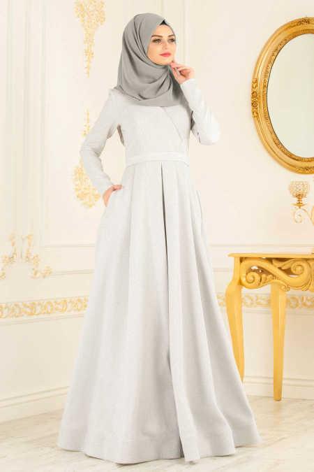 White Hijab Evening Dress 4580B