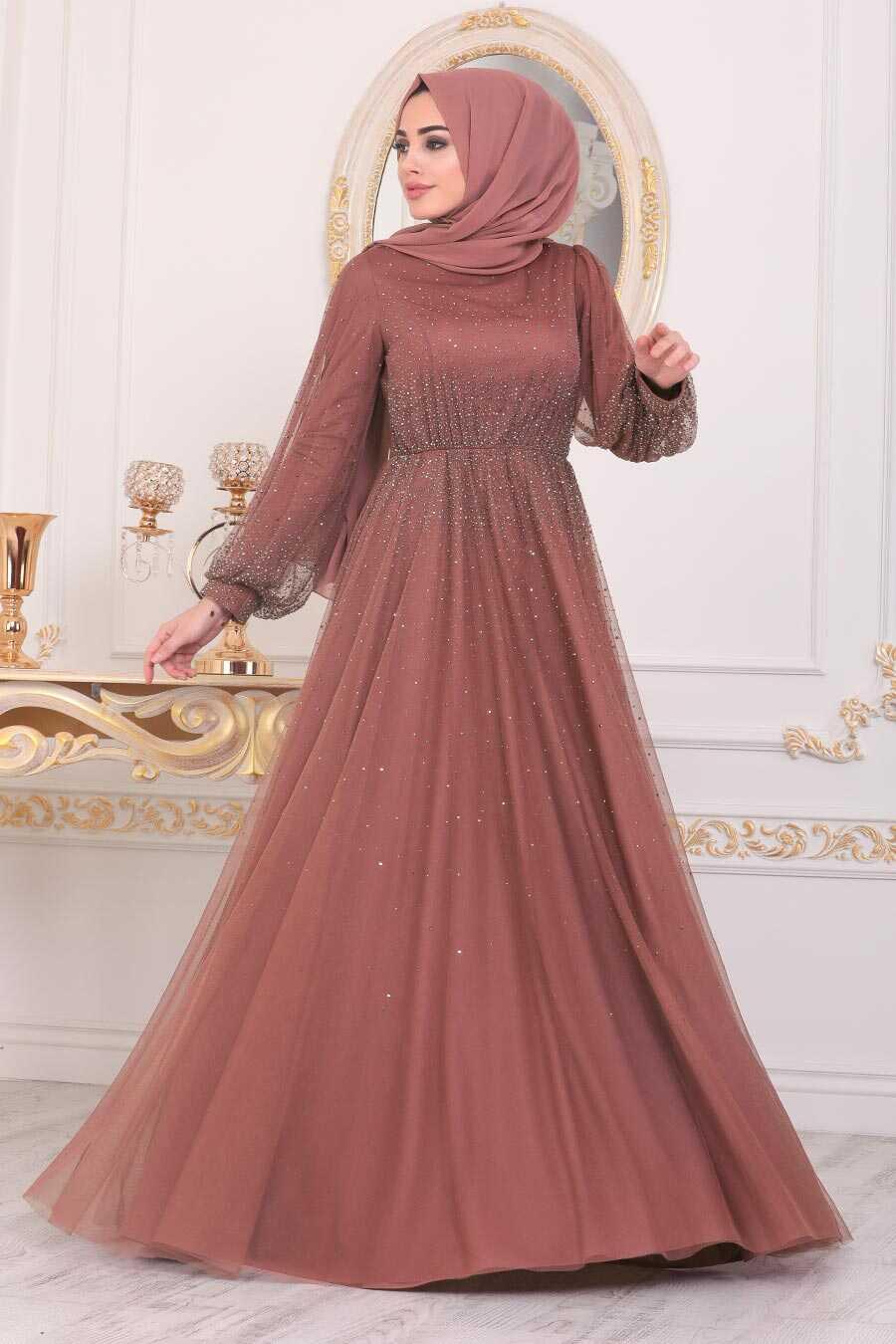 Yellowish Brown Hijab Evening Dress 21501TB