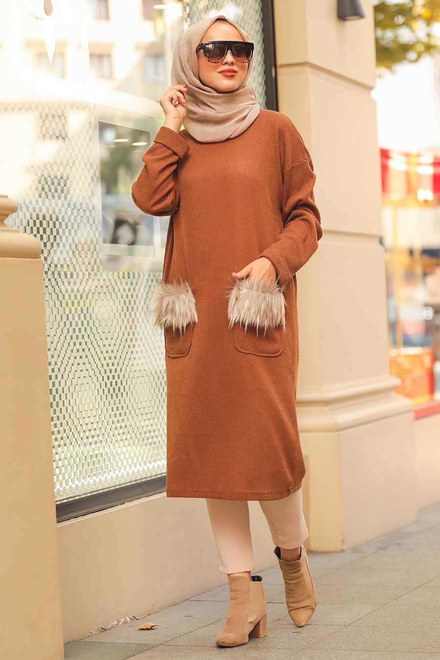 Yellowish Brown Hijab Knitwear Tunic 12003TB