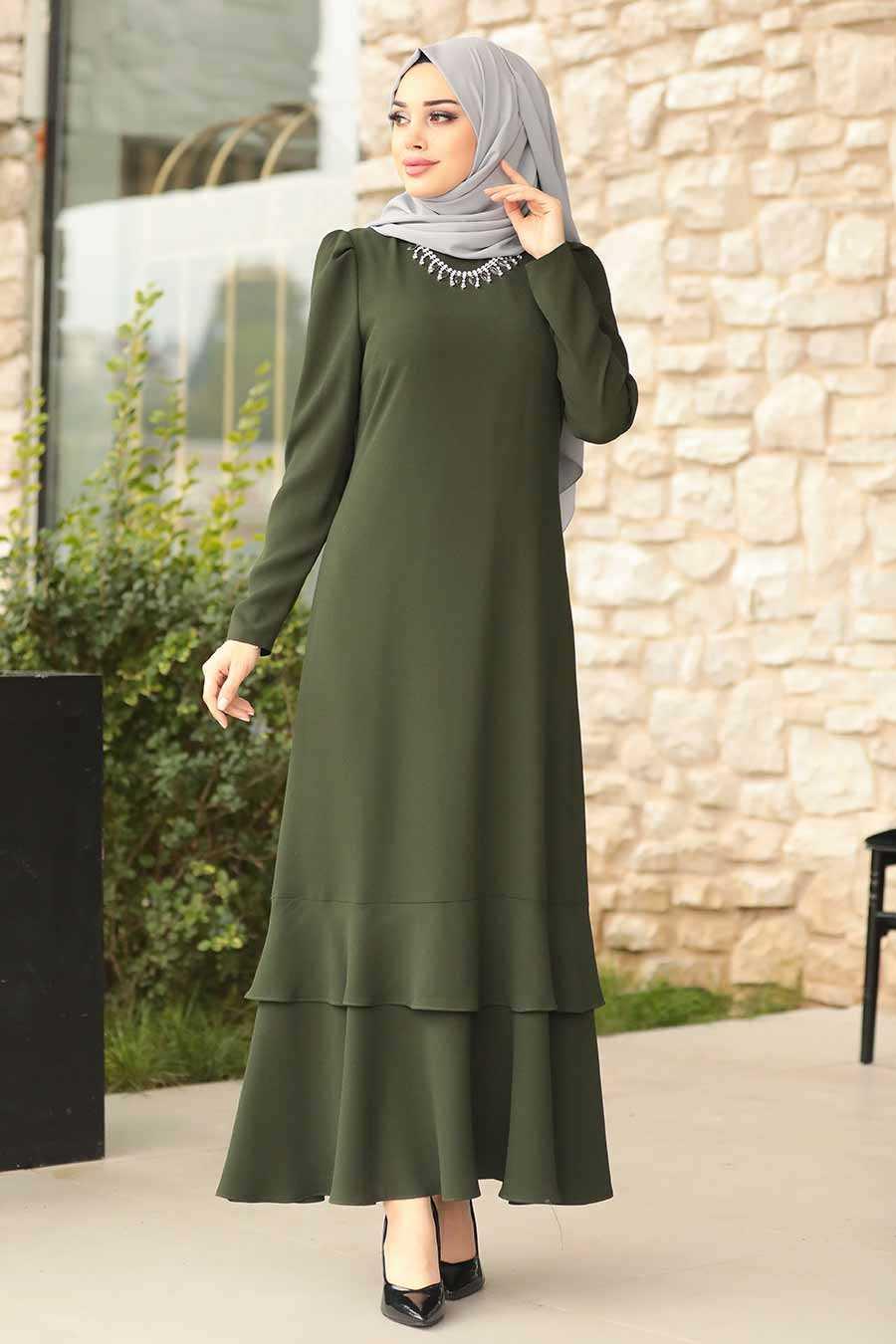 Yeşil Tesettür Abiye Elbise 3763Y