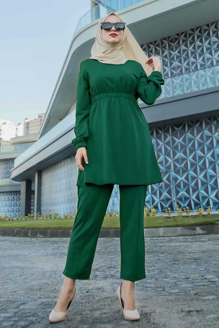 Yeşil Tesettür İkili Takım 22401Y